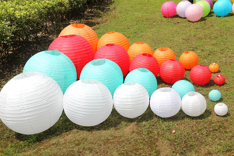 10pcs/lot 6-16 inch Light Blue Chinese paper lantern For Wedding decoration  Hanging Lanterns lampion Wedding Party supplies - us120
