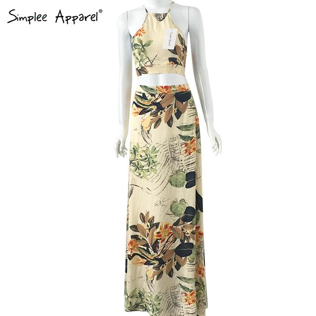 2015 Hot sale novelty women dress Two pieces sexy halter cross backless maxi dress Boho style fashion lady floral dress(China (Mainland))