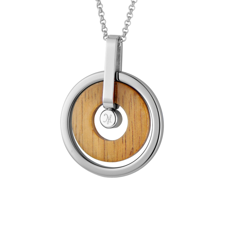 Pendants tungsten with koa wood CZ crystal pendants Necklace with Chain fashion free ship womens men new Pendant Necklace(China (Mainland))