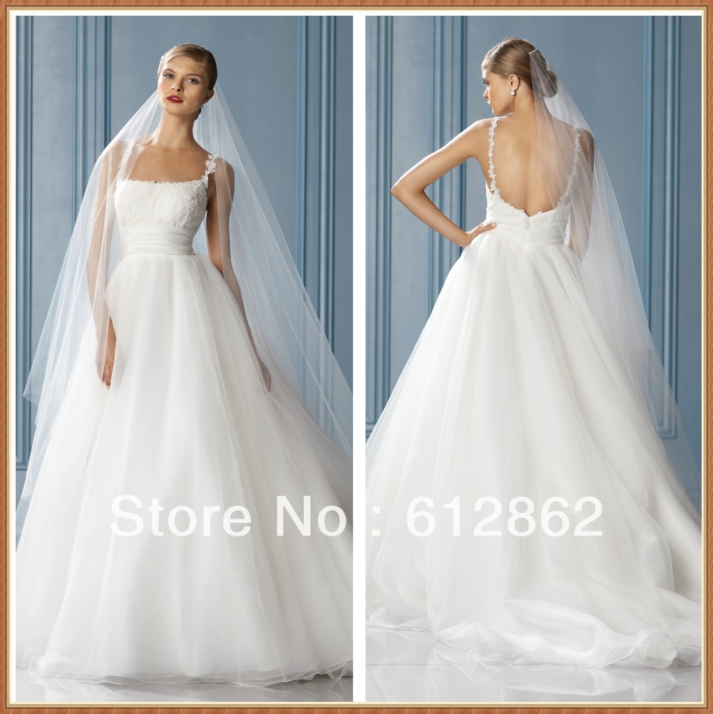Spaghetti strap lace bodice low back ball gown china for Spaghetti strap ball gown wedding dress