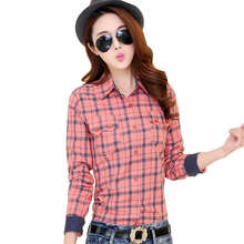 Spring 2016 new women's long sleeve plaid shirt female wild cotton Plus Size shirt Casual Blouse printed shirt bottoming Blouses(China (Mainland))