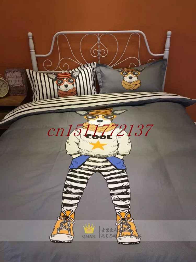 Fast shipping Home Textile Gift 100 Cotton girls Boys kids orange comforter set Dog beddingSets Duvet Cover Set bedroom set(China (Mainland))