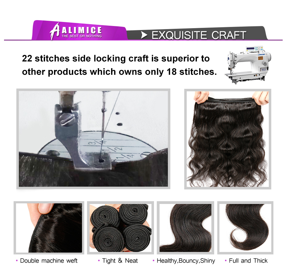 Alimice Hair Brazilian Loose Wave 100% Human Hair Bundles 1 Piece Natural Color Non-remy Hair Weave 10-26inch Free shipping