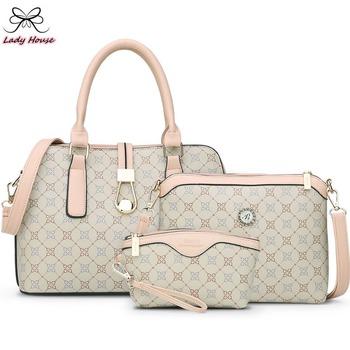 3 мешок / комплект матери сумочка бренд дизайнер женщины мешок надписи шотландка полоска Femal наплечная сумка подарок для матери