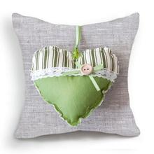 Retro Vintage Green Stripe Button Heart Gray Cotton Linen Pillow Case Cushion