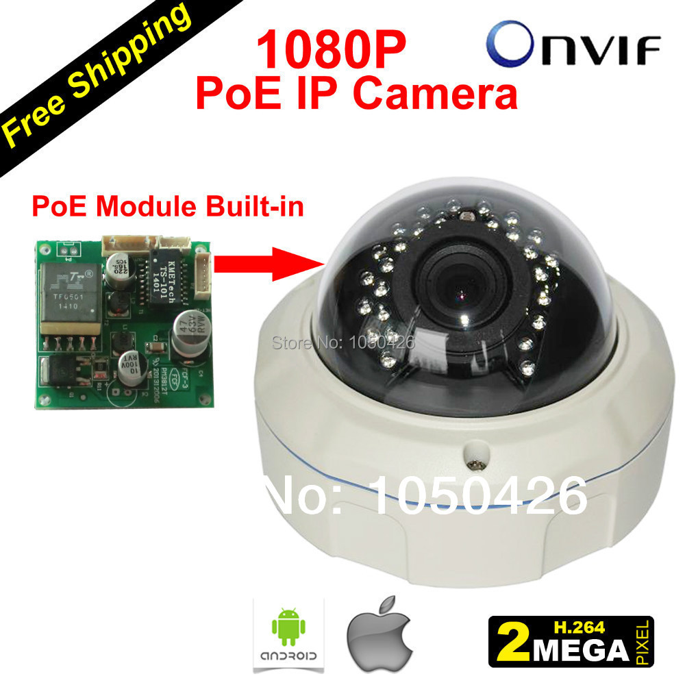 Free Shipping IP Security Camera Poe Power over Ethernet with 25M Infrared Range 1080 Pixel Vandal-proof Dome Case(China (Mainland))