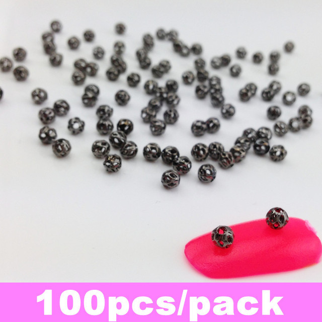 100pcs/bag 3mm Black Round Shape Hollow Beads Nail Metallic Decoration + Free Shipping