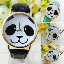 Women s Panda Pattern Round Dial Faux Leather Analog Quartz Wrist Watch 6LAT