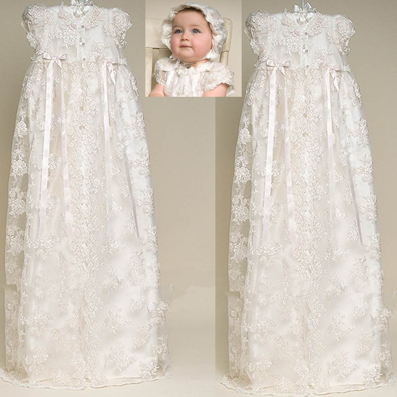 Lovely High Quality Ivory and White Taffeta Baptism Gown Lace Jacket Christening Gowns Dress with Bonnet for Baby Girls and Boys(China (Mainland))