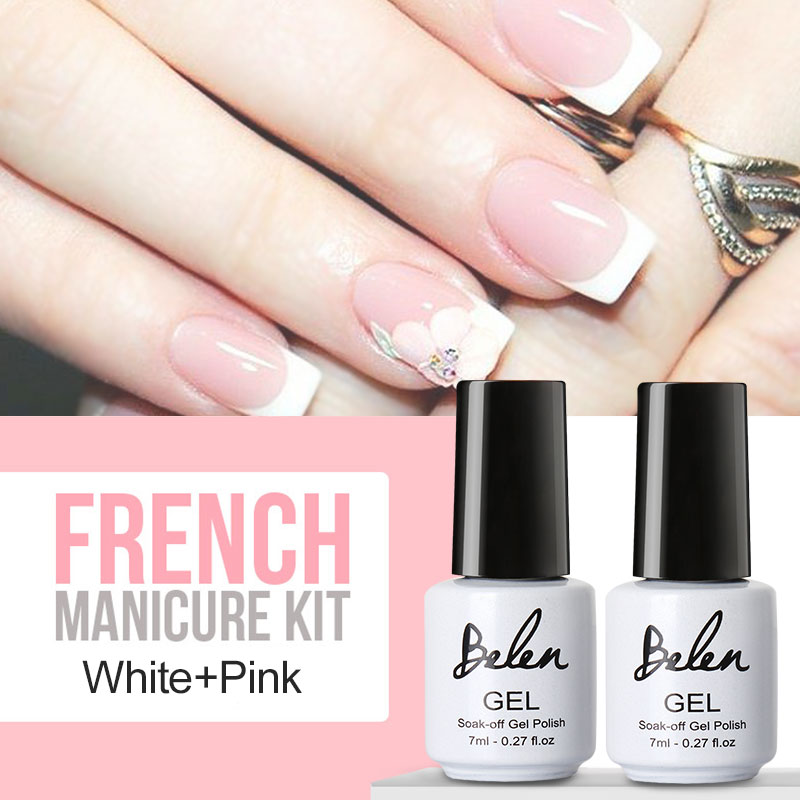 Belen UV Gel Nail Tips Pure Fine Shiny Cover French Manicure Set Brand Style French Tips Salon Set