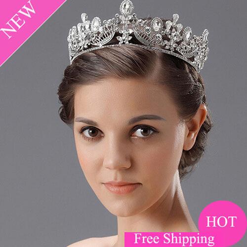New Design Gogeous Wedding Bridal Large Circle Crystal Rhinestone Big Tiaras Crown(China (Mainland))