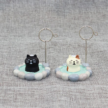 Kawaii Zakka Spa Trip Tricolor Cat Name Card Clip Resin Crafts Anime Cartoon Figurines Desktop Home Decoration Accessories