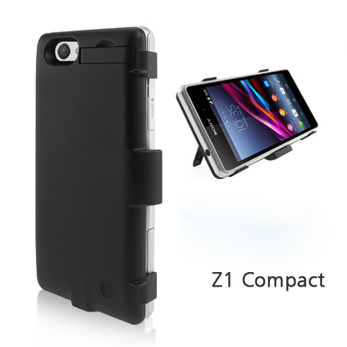 white& black for Sony Xperia Z1 Compact Z1mini 3200mAh External Battery with Stand Power Battery Case Free Shipping