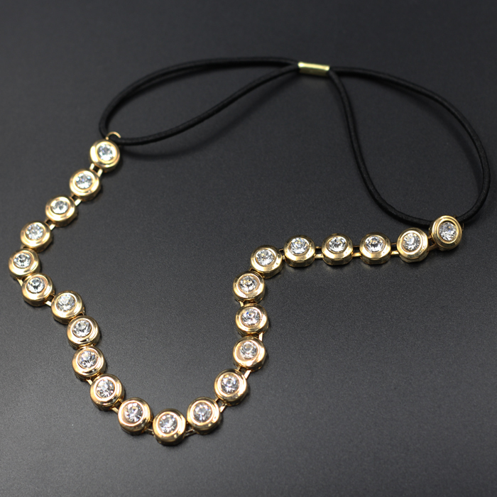 2015 new arrive lady women's alloy metal rhinestone elastic Headband gold color Hairband vintage hair Accessories(China (Mainland))