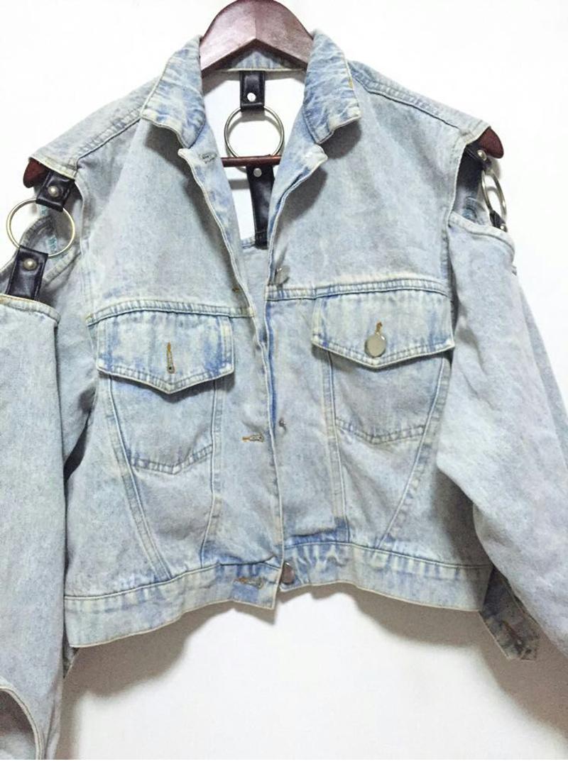 2017 Harajuku Women's Clothing Retro Punk Outwear motorcycle Denim Jackets Vintage Water Wash White Female Cowboy Jacket Coats