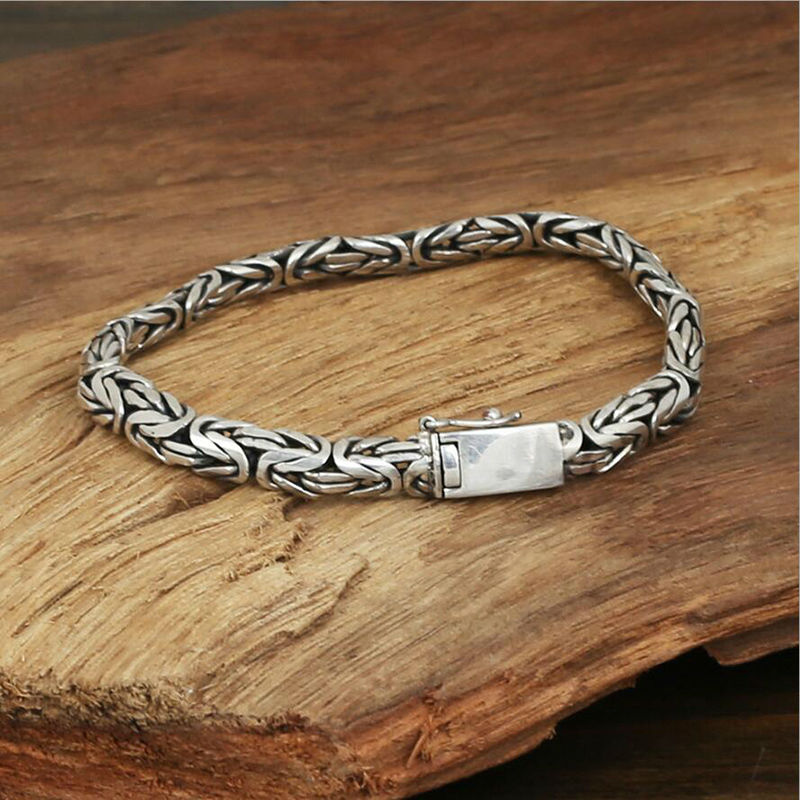 2016 Small flat buckle life of peace grain chain bracelet 925 sterling silver bracelet bangle for men or women fine jewelry GR30(China (Mainland))