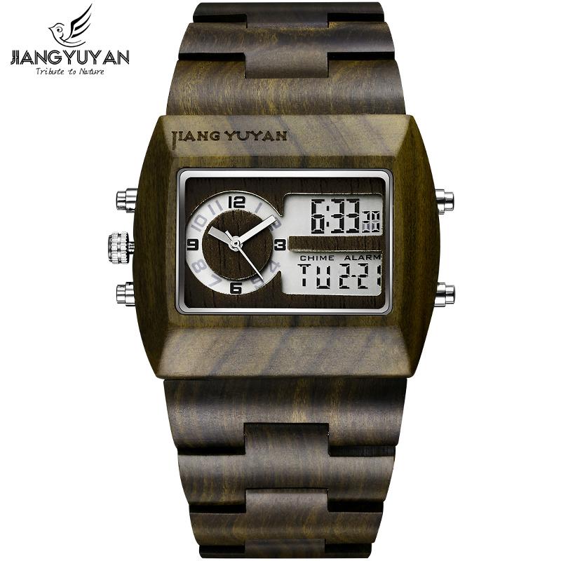 Natural Sandalwood Watch Men Luxury Brand Antique Wood Watches Date Quartz Analog Digital LED Wristwatch Gift His reloje Relogio(China (Mainland))