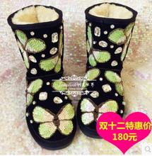 Nuevo diseñador 2014 nuevas mujeres botines de lujo Handamde nieve del cuero genuino botas de invierno moda mariposa zapatos de plataforma(China (Mainland))