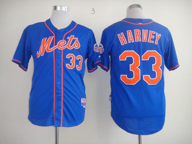 2015 New York Mets Baseball Jersey 33 Matt Harvey Blue Stitched Authentic Jerseys(China (Mainland))