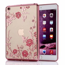 For Apple Pad Mini 1 2 3 Luxury Rhinestone Flowers Crystal Clear Soft Silicon Case for Apple Pad Mini 4 Cover for Apple Pad 6(China (Mainland))