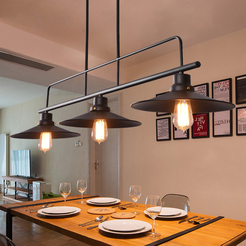 Ac 100 240v Voltage 3 Lamp Holder Kitchen Lights Loft Designer Black Metal Lamp Shades
