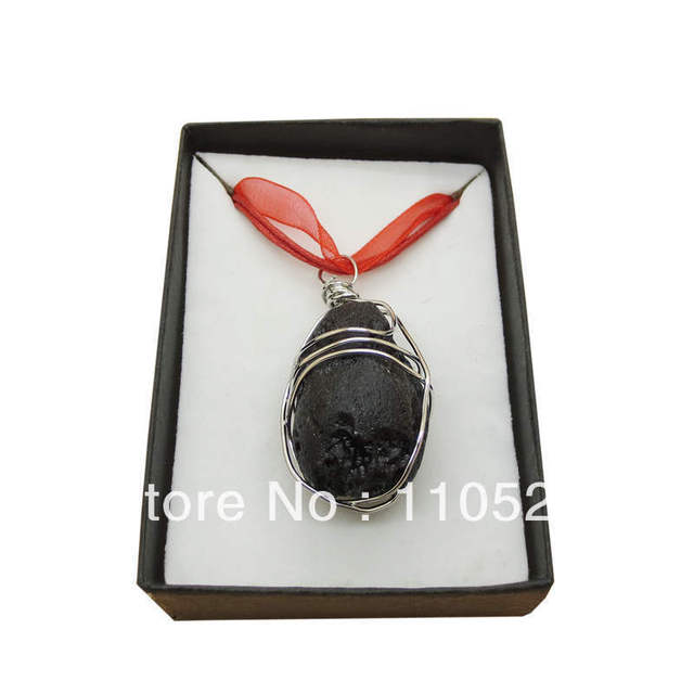 Wholesale Wrapped volcano lava stone pendant necklace with gift box; free shipping; Gemstone Pendant