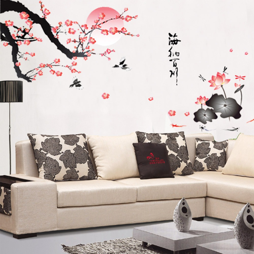 buy removable flower wall sticker pink wall decor chinese style mural
