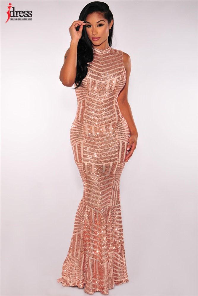 IDress 2017 Sexy Party Club Dresses Sleeveless Evening Long Dress Backless  Gold Sequin Maxi Dress Robe ... 28d76ddde403