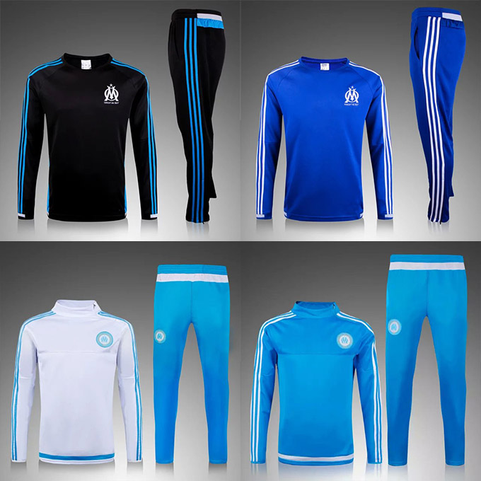 Soccer tracksuits 2016 Best quality survetement football Marseille training suit sweat top chandal soccer jogging football pant(China (Mainland))