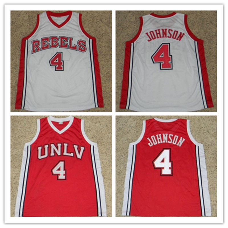 #4 LARRY JOHNSON UNLV RUNNIN REBELS BASKETBALL JERSEY Red White Embroidery Stitched Custom any Number and name Jerseys(China (Mainland))