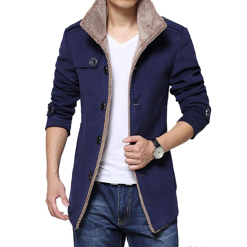 Гаджет  Hot Sale 2015 Fashion Brand Men Winter Jacket Stand Collar Slim Fit  Mens Pea Coat High Quality Men Long Coat Wool Coat 4XL None Одежда и аксессуары