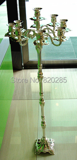 Tallest candelabra for weddings, 107cm height 9-arms candle holder, silver plate finish candle stick, metal candle stand(China (Mainland))