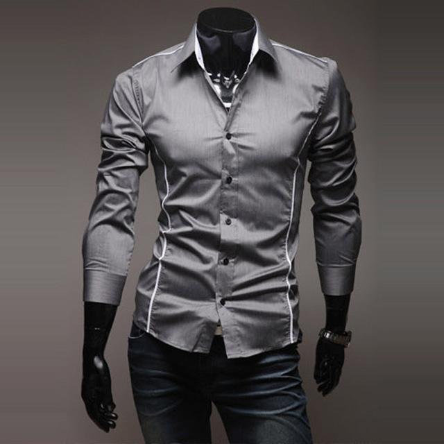 Продвижение продажа мужская повседневная рубашка 2014 весной платье Высокое Качество ...