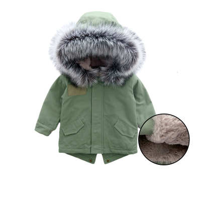 Retail 2017 Faux fur hooded children's Winter jacket, plus Velvet baby girls Warm coat, Boutique Clothing Army Green 17RGT001