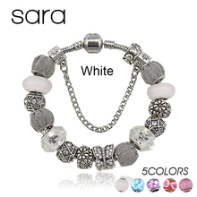 2016 Fashion Jewelry Butterfly Charm Bracelets & Bangles For Women Antique Silver Crystal Beads Bracelet Pulseira Gfit SPB15287(China (Mainland))