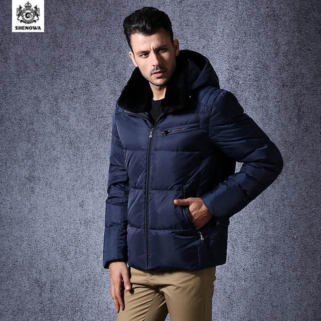 Mode SHENOWA 2015 hommes Designer Casual manteau d'hiver en cuir duvet d'oie veste vêtements au Canada épaissir