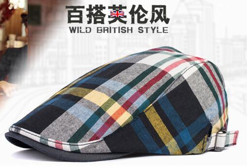 Hot Sale Fashion trend color of the beret outdoor big plaid cap tide personality Men hats Beret spring / summer Hat Cap Gifts(China (Mainland))