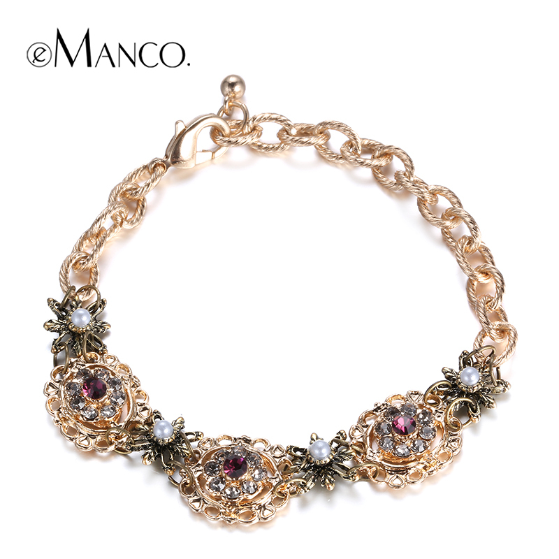 //Zinc alloy charms cute bracelet girl// chain bracelet with gold flower bracelet rhinestone jewelry summer 2015 eManco BL06846(China (Mainland))
