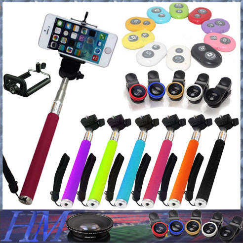 Universal Clip Fish Eye Phone Lens+Portable Handheld Gopro selfie monopod+Wireless Bluetooth Remote Control Fisheye lens(China (Mainland))