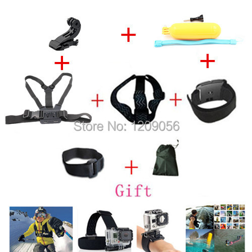 Gopro Accessories Set Helmet Harness Chest Belt Head Mount Strap Go pro hero3 Hero4 2 3+ Sj4000 Black Edition Free Shipping(China (Mainland))