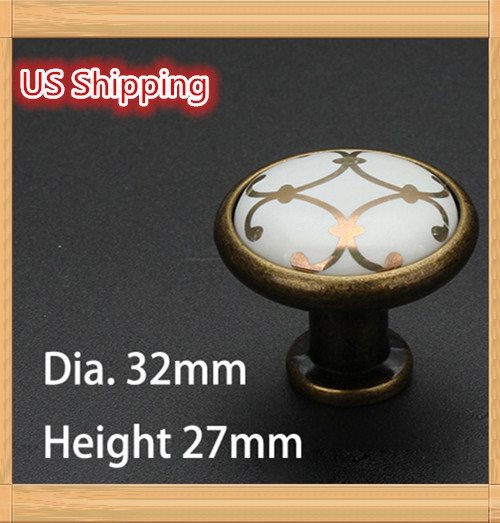 US Shipping 5pcs Golden Flower Printed Ceramic Zinc Alloy modern simple classic knob Kitchen Cabinet Furniture Handle knob(China (Mainland))