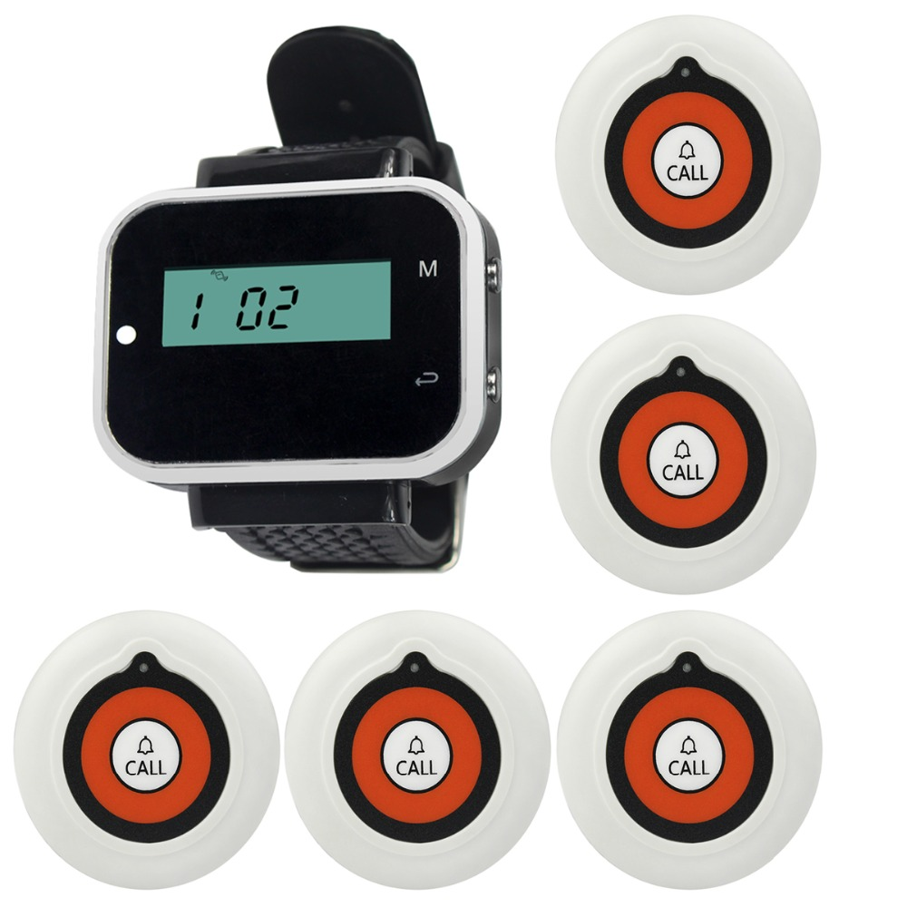 5pcs Call Button Pager+1 Watch Receiver Wireless Pager Calling System Restaurant Hotel Waiter Calling System F3232A(China (Mainland))