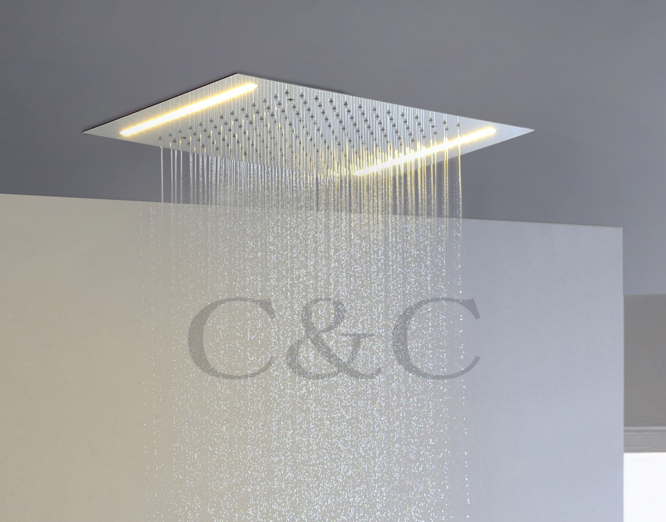 Bathroom LED Rainfall Shower Head 110V~220V Alternating Current Yellow Lamps L-50X36E(China (Mainland))