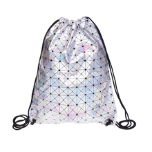 Backpack women Lattice Silver leather backpack new Trend line Travel drawstring bag mochila feminina Hot Now backpacks mochilas