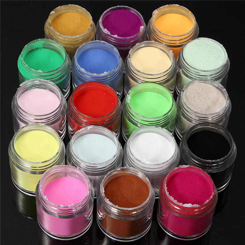 New 18 Pcs Nail Art Set Acrylic Jumbo Size Uv Powder Glitter Polish