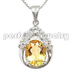 Citrine pendant Free shipping Charm pendant Natural and real citrine S925 sterling silver Yellow gems Wholesales(China (Mainland))