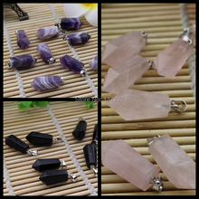 Free Shipping 10Pcs/lot Pick  Mixed Natural Crystal Hexagonal Point Reiki Chakra Pendant Necklaces Beads Gift