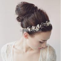 western style Wedding pearl headdress fashion crsytal bridal head band wedding hair jewelry accessory