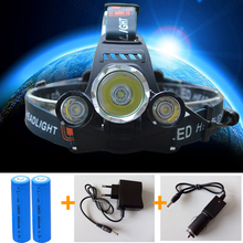 3 LED Headlight 6000 Lumens Cree XM-L T6 Head Lamp High Power LED Headlamp +2pcs 18650 5000mah battery Charger+car charger(China (Mainland))
