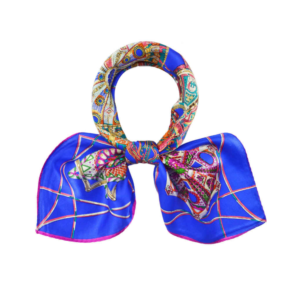 Women Silk Scarf Square Small Fall Winter Navy Blue Printed Scarves for OL US Fast and Free Shipping(China (Mainland))